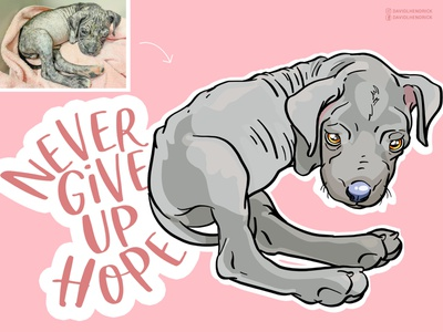 Never Give Up Hope nonprofit logo charity hand drawn custom product typography branding custom artwork design graphic design animals illustration never give up logo rescue puppy art puppy dog art inspirational quote dog quote dog