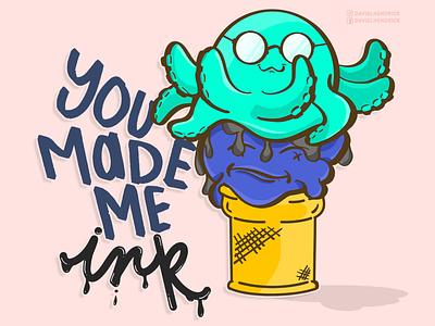 Octopus Ice Cream Cone octopus postre ocean branding logo custom artwork design graphic design animals illustration funny nursery ice cream logo ice cream poster ice cream typography funny ice cream ice cream cone ice cream octopus graphic octopus logo octopus typography octopus