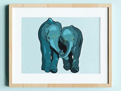 All you need is Love and Elephants elephant nursery elephant logo nursery art elephant safari safari elephant illustration custom elephant logo branding design custom artwork graphic design animals illustration elephant shirt elephant graphic elephant drawing elephant art elephant love elephant