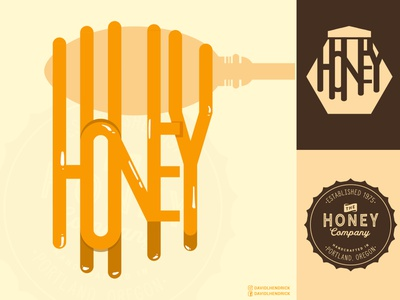 The Honey Company food label product design honey typogray typography vintage logo custom logo branding honey pot honey jar jar label jar bee label honey label label food logo logo honey logo honey bee logo bee