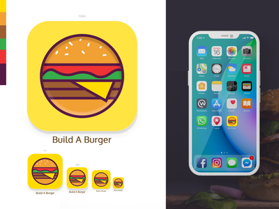 Build A Burger App Icon game app ux ui graphic design branding food logo food app iphone app logo food icon food app icon restaurant app restaurant logo burger logo game icon game app icon app burger app burger