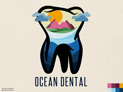 Ocean Dental Logo vector logo branding custom artwork design graphic design illustration doctor logo teeth logo teeth dental logo dentist logo dentist dental