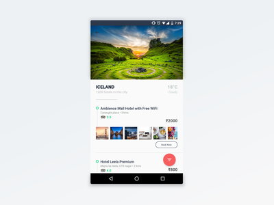 Hotels listing page product application ui android app hotels