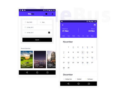 Bus booking - Search for buses dates date calendar search white buses bus book application app ui android