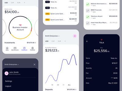 Light and Dark transaction history stock market accounting app accounting clean numbers linechart charts piechart transactions banking bank accounts minimal investment app bonds stocks mobile app financial app fintech dark mode