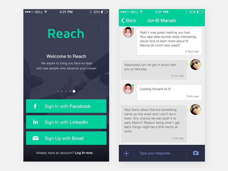 Reach 1.8 startup networking app green minimal android ios app ux ui uiux reach