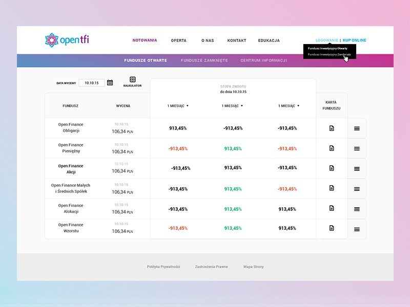 Investment Funds redesign visual ui investment funds minimal webdesign