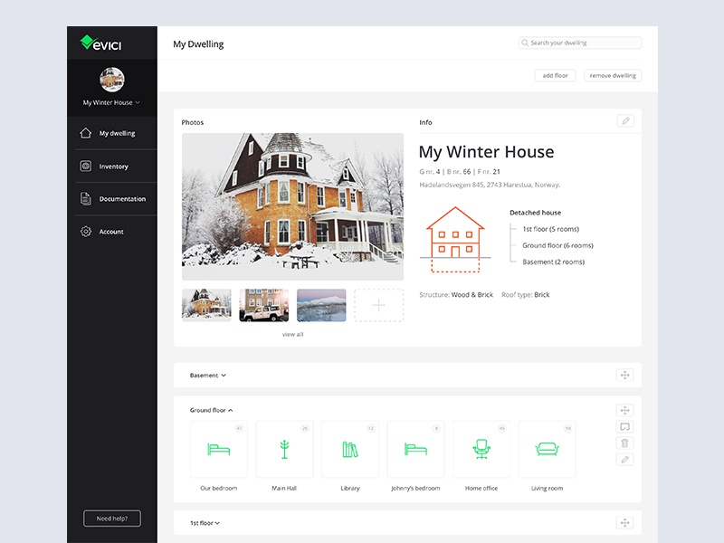 🏠 My Dwelling norway home app maintenance startup dribbble ui home ux tech dwelling design webdesign