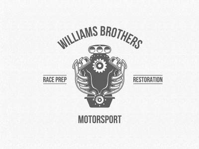 Williams Brothers Logo Concept grill car block blower supercharged muscle car hot rod black mono branding lettering logo