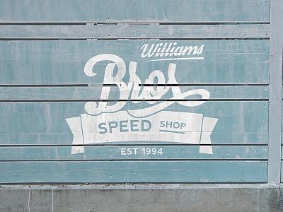 Williams Brothers Speed Shop Logo Concept vintage script type shop speed car mark bros logo indentity branding