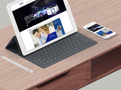 Epson Re-design mobile hero epson homepage web ui ux responsive blue