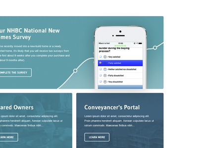 'Consumer Focused' Landing Page cta tiles minimal clean white responsive ux ui web nhbc