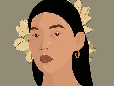Serene portrait art digital art illustration