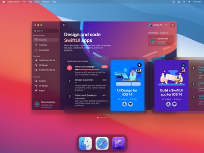 Big Sur app for Design+Code ui design desktop app