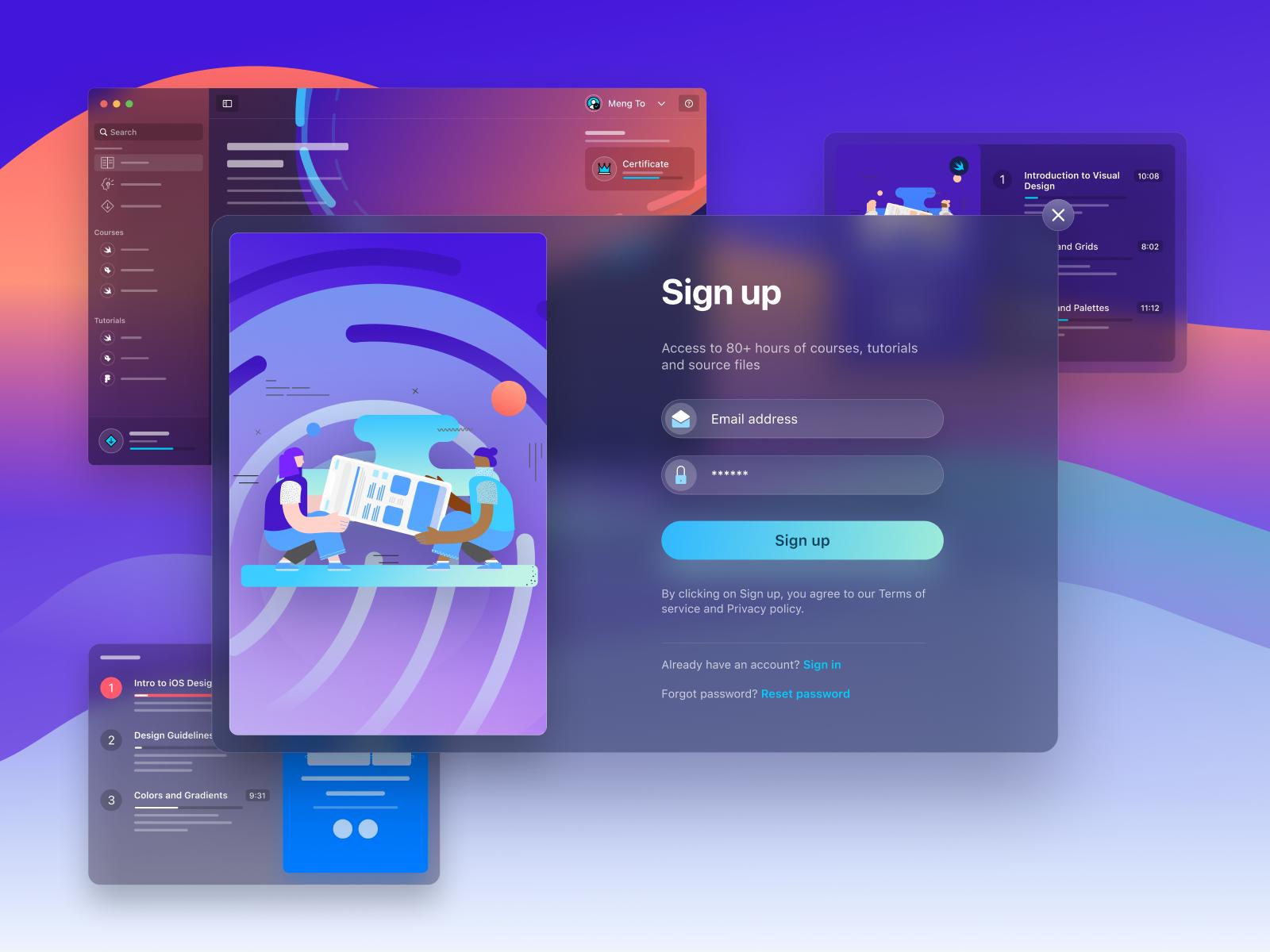 Sign Up Modal translucent blur web modal