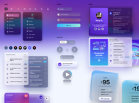 Design System menu forms buttons cards translucent blur web design style guide design system
