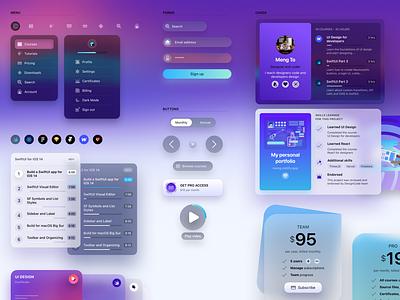 Design System menu forms buttons cards translucent blur web design style guide design system