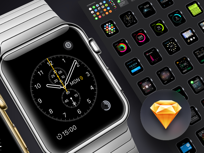 Apple Watch GUI sketch watch gui ui kit vector icon freebie