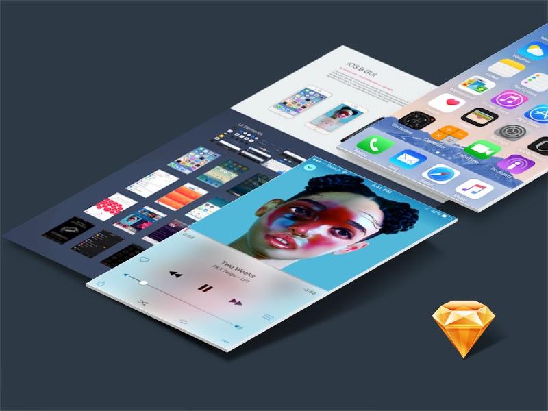 iOS 9 GUI Sketch iphone 6 ui kit gui sketch ios 9