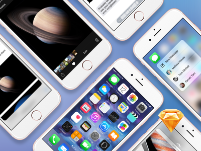 iOS 9 GUI with 3D Touch iphone 6s ui kit gui sketch ios 9