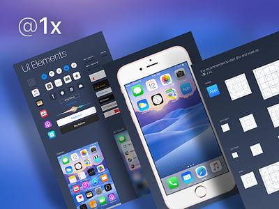 iOS 9 GUI @1x iphone 6s template app icon ui kit gui ios 9