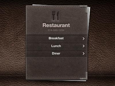 Menu menu leather restaurant ui design food