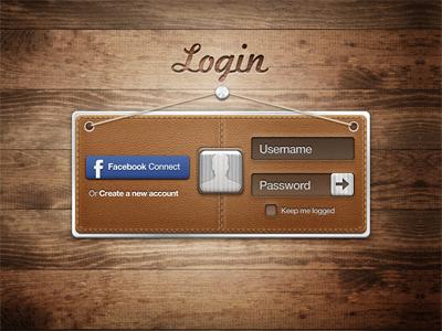 Login login leather wood metal