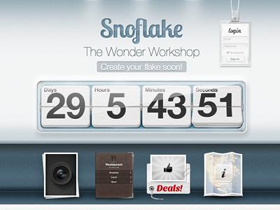 Snoflake countdown login icons logo