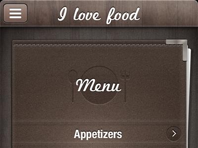 Restaurant leather wood menu food