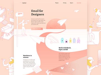 Letter.so illustration web design letter landing page