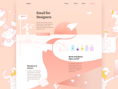 Letter.so illustration web design letter landing page