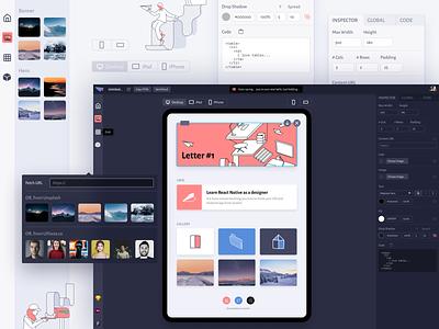 Letter.so Editor illustration dark mode email design tool editor