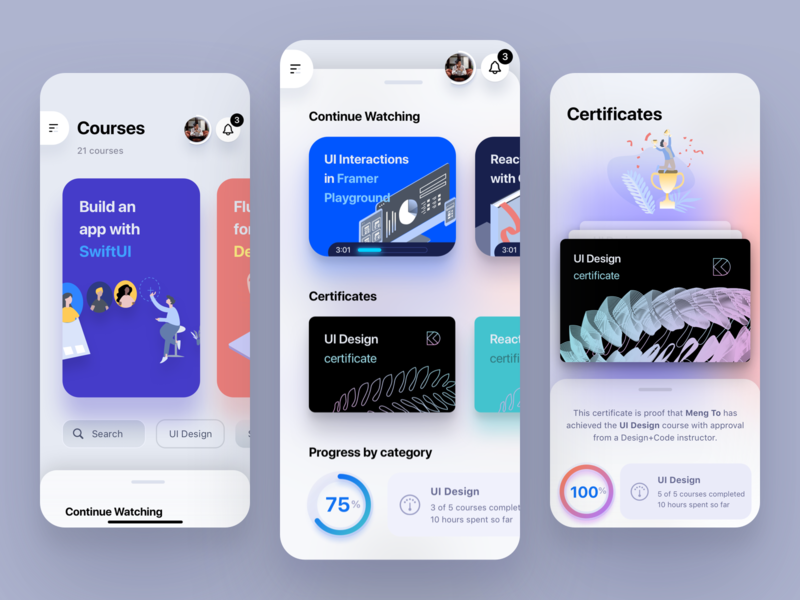 SwiftUI Course product design mobile dashboard progress ring certificate cards iphone ios design swiftui