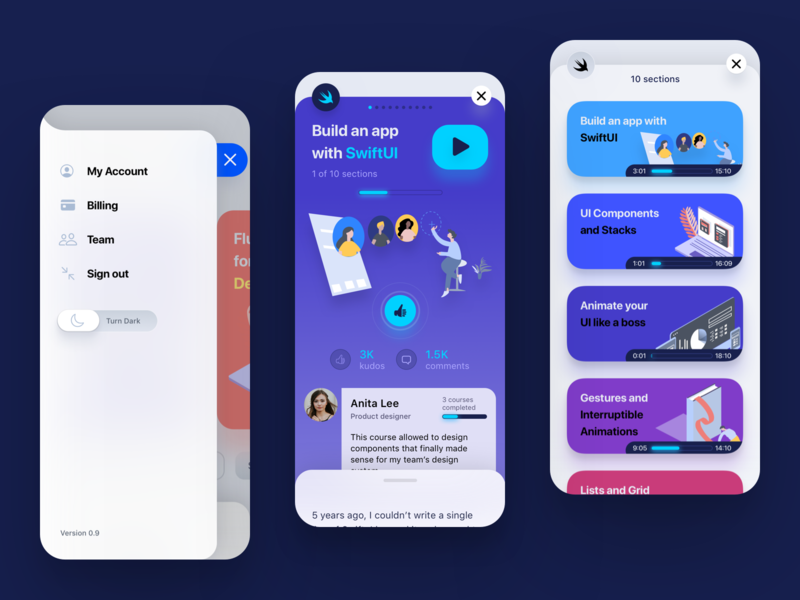 SwiftUI App illustration ui ios mobile app design cards menu product design mobile