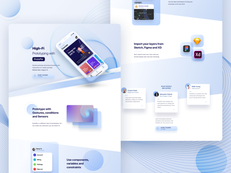 ProtoPie Course desktop website iphone landing page ios sketch protopie ui design app mobile prototyping