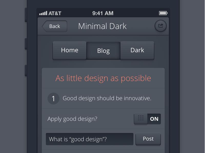 Minimal iPhone Dark ui kit iphone sketch