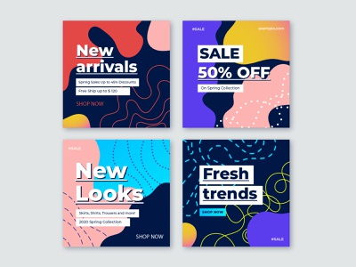 Abstract instagram post collection media buy abstract shape minimalist store offer template promotion shop colorful shapes abstract instagram instagram post template campaign social social media post sale