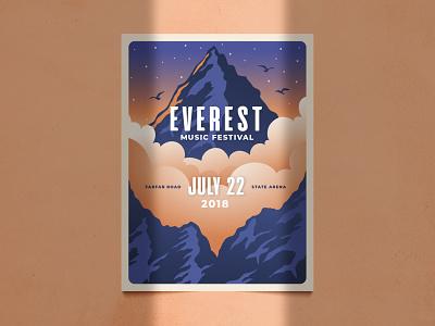 Everest Poster minimal minimalistic illustration graphic retro vector fest print festival cloud brochure flyer poster hand drawn music mountain
