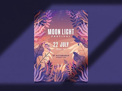 Moon light poster flyer template design festival illustration flyer leaves plants gradient flat floral template poster music