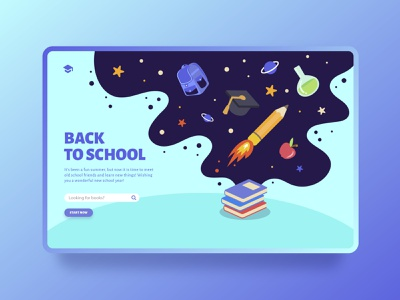 Back to School landing page concept searching galaxy study books college school webdesign minimal interface creative clean template web design ux design landing-age