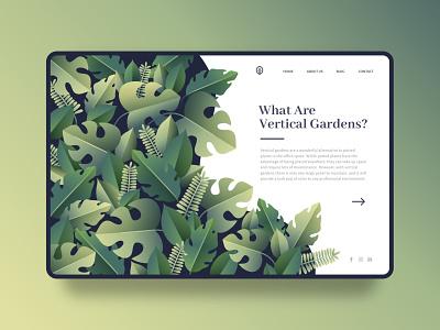 Garden Landing Page Concept illustration minimalistic web design webdesign ux template nature minimal landingpage interface gradient garden flat design flat design creative clean