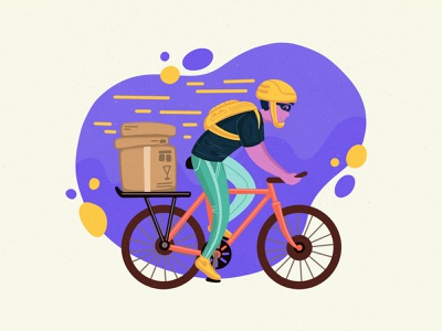 Bicycle delivery concept human box helmet delivery service colorful minimalist startup bicycle bike illustration product illustration delivery