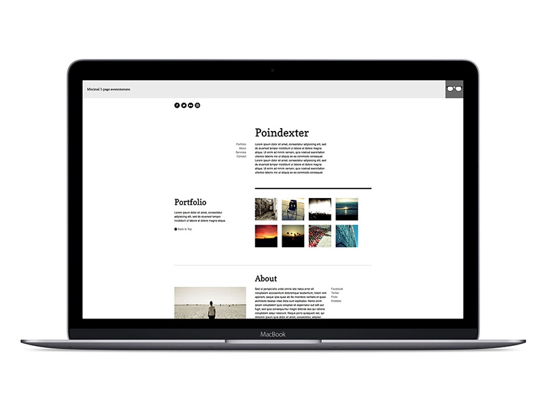 Poindexter  light single page template website