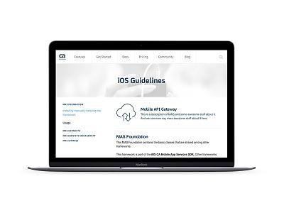 CA Mobile App Services documentation page page website documentation mobile