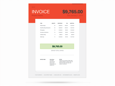 PayUp Invoice invoice template red illustrator letter size a4