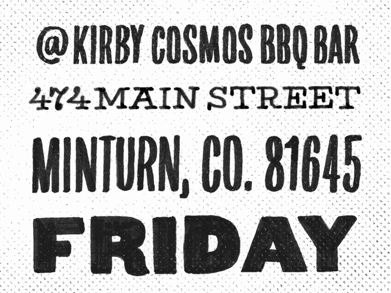 Kirby's BBQ lettering vector type typography hand drawn feast lunch bbq colorado wedding minturn