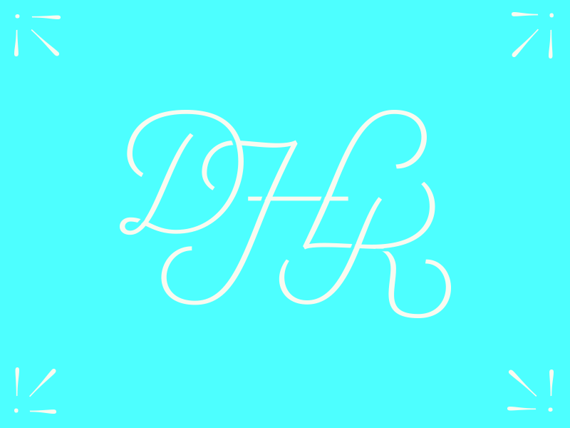 Wedding Monogram wedding monogram letters script type cursive blue marriage celebrate
