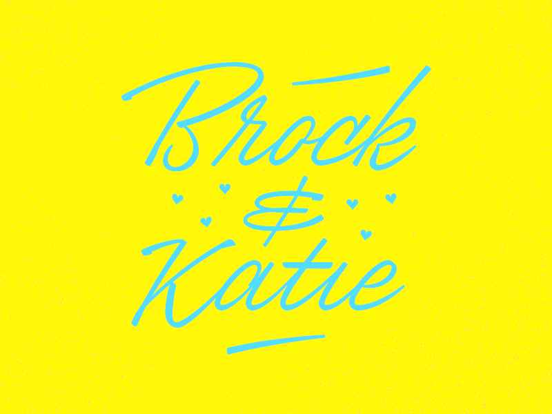 Brock & Katie script lettering wedding vintage friends abilene acu yay