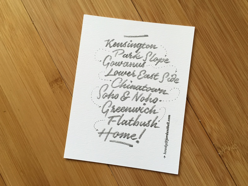 Saturday Adventure nyc neighborhood adventure manhattan brooklyn script pencil lettering