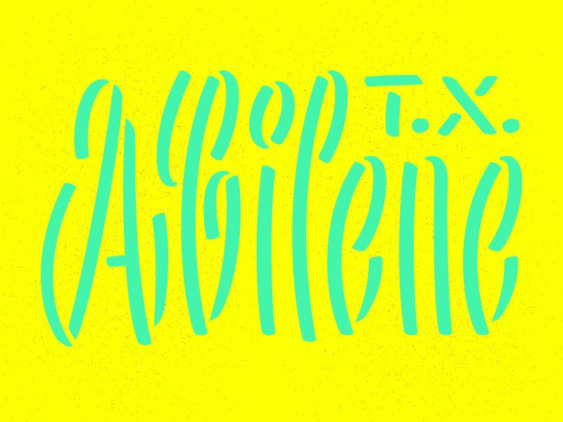 Abilene robofont sans condensed stencil brush type lettering